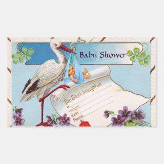 STORK BABY BOY SHOWER 2 RECTANGULAR STICKER