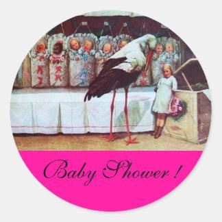 STORK BABY BOY SHOWER 3 pink fuchsia Classic Round Sticker