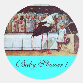 STORK BABY BOY SHOWER 3 turquase Classic Round Sticker