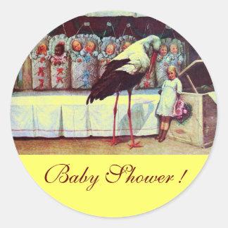 STORK BABY BOY SHOWER 3 yellow Classic Round Sticker
