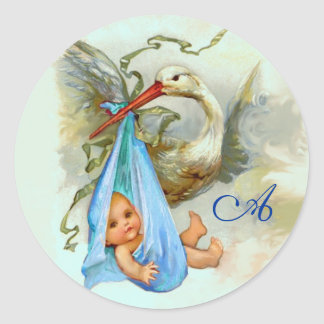 STORK BABY BOY SHOWER BLUE MONOGRAM , CLASSIC ROUND STICKER