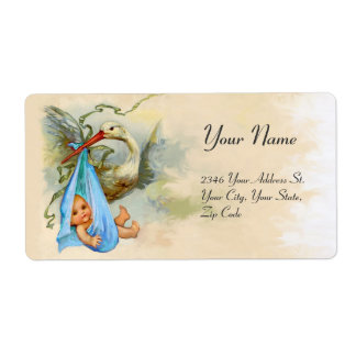 STORK BABY BOY SHOWER BLUE PINK PERSONALIZED SHIPPING LABELS