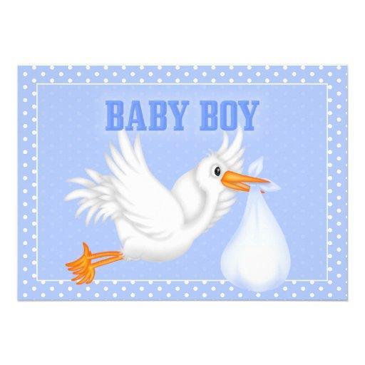 stork baby boy shower invitation zazzle