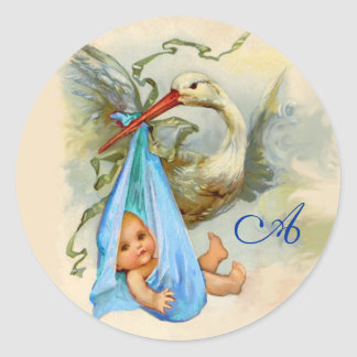 STORK BABY BOY SHOWER  MONOGRAM , CLASSIC ROUND STICKER