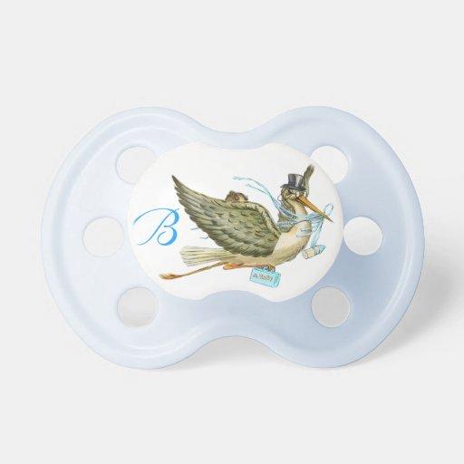stork baby boy shower monogram turquase pacifier zazzle