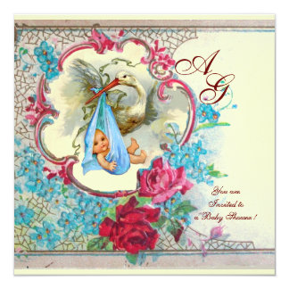 STORK BABY BOY SHOWER WITH ROSES AND BLUE FLOWERS CARD