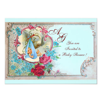 "STORK BABY BOY SHOWER WITH ROSES AND BLUE FLOWERS 5"" X 7"" INVITATION CARD"