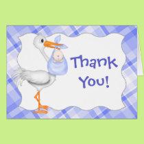 Stork & Baby Boy Thank You Card