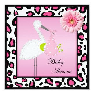 Stork & Baby Gerbera & Animal Print Baby Shower Card