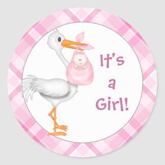 Stork & Baby Girl Baby Announcement Classic Round Sticker