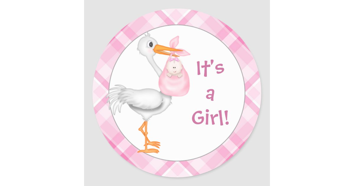 Stork & Baby Girl Baby Announcement Classic Round Sticker ...