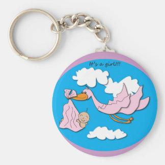 Stork - Baby Girl Basic Round Button Keychain