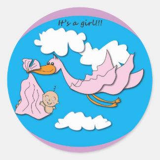 Stork - Baby Girl Classic Round Sticker