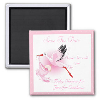 Stork & Baby Girl Pink Save the Date Baby Shower Magnet