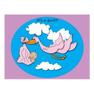 Stork - Baby Girl Postcard