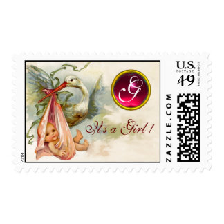 STORK BABY GIRL SHOWER 2 MONOGRAM RED RUBY POSTAGE