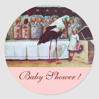 STORK BABY GIRL SHOWER 3 pink Classic Round Sticker
