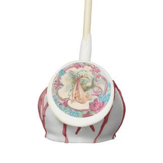 STORK BABY GIRL SHOWER MONOGRAM CAKE POPS