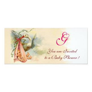 STORK BABY GIRL SHOWER MONOGRAM CARD