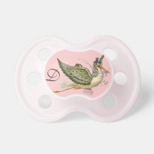 STORK BABY GIRL SHOWER MONOGRAM , Pink Pacifiers