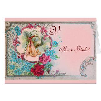 STORK BABY GIRL SHOWER PINK ROSES,FLOWERS MONOGRAM CARD