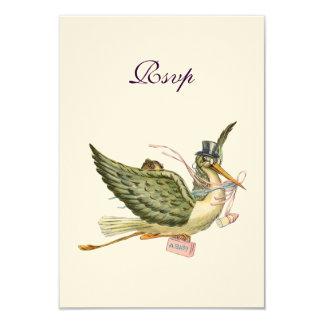 STORK BABY GIRL SHOWER ,RSVP, Cream Felt 3.5x5 Paper Invitation Card
