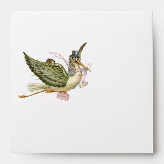 STORK BABY GIRL SHOWER , White Pink Envelope