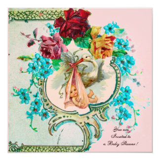 "STORK BABY GIRL SHOWER WITH PINK ROSES AND FLOWERS 5.25"" SQUARE INVITATION CARD"