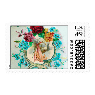 STORK BABY GIRL SHOWER WITH PINK ROSES AND FLOWERS POSTAGE