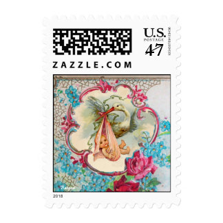 STORK BABY GIRL SHOWER WITH PINK ROSES AND FLOWERS POSTAGE STAMP