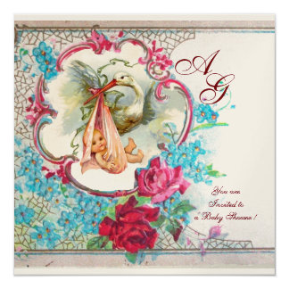 STORK BABY GIRL SHOWER WITH PINK ROSES MONOGRAM CARD