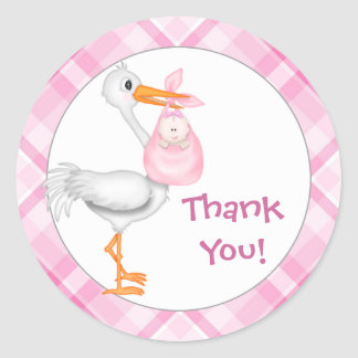 Stork & Baby Girl Thank You Classic Round Sticker