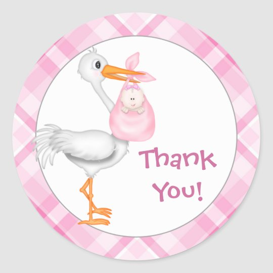 Stork & Baby Girl Thank You Classic Round Sticker
