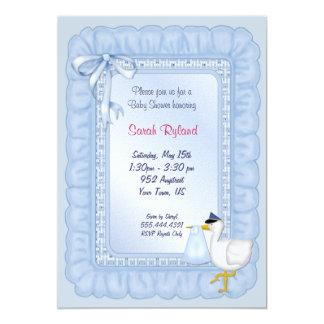 Stork Baby Invite - Blue