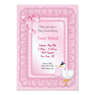 Stork Baby Invite - Pink