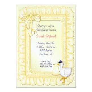 Stork Baby Invite - Yellow