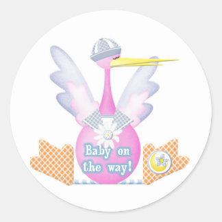 Stork Baby on the Way Classic Round Sticker