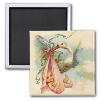 STORK BABY SHOWER 2 2 INCH SQUARE MAGNET