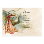STORK BABY SHOWER 2,pink white pearl paper Large Business Cards (Pack Of 100)
