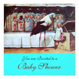 STORK BABY SHOWER 3, blue turquase Card