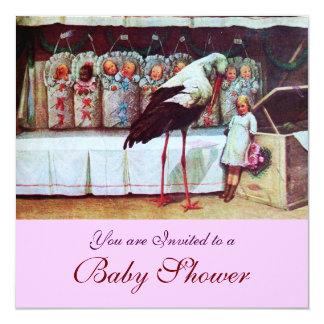 STORK BABY SHOWER 3, pink Card