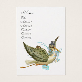 STORK BABY SHOWER, Blue White Pearl Paper Business Card