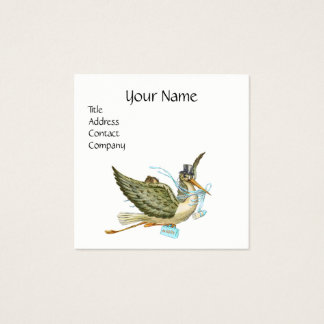 STORK BABY SHOWER Blue White Pearl Paper Square Business Card