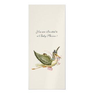 STORK BABY SHOWER, champagne metallic Card