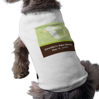 Stork Baby Shower Dog Tank - Green/Brown Dog Shirt