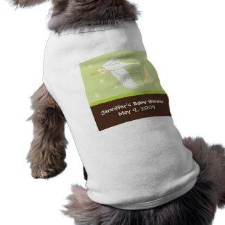 Stork Baby Shower Dog Tank - Green/Brown T-Shirt
