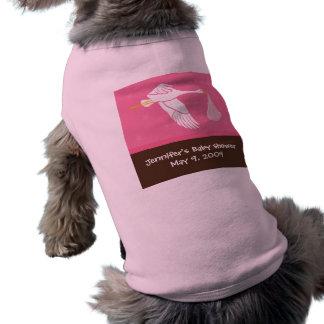 Stork Baby Shower Dog Tank - Pink/Brown Dog T-shirt