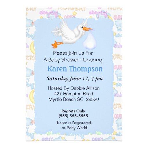 stork baby shower invitation zazzle