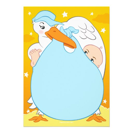 stork baby shower invitations boy 5 x 7 invitation card zazzle