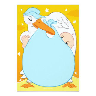 "Stork Baby Shower Invitations Boy 5"" X 7"" Invitation Card"